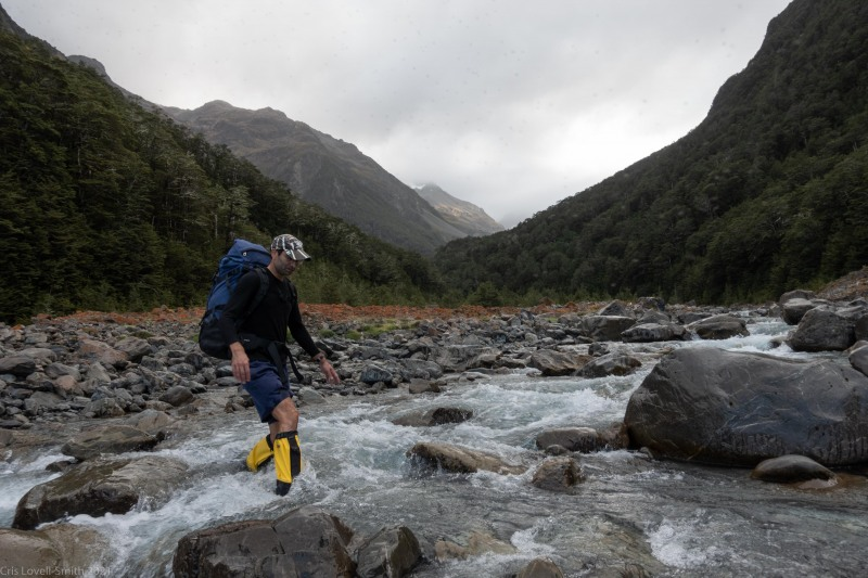 Crossing a river (Avalanche Crow Tramp April 2021)