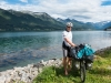 Cris at the sea (Cycle Touring Norway 2016)