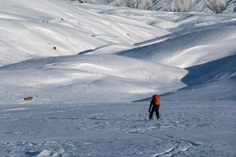 Skiing back down to the hut in the morning (Ski touring Kirtle Burn Hut August 2021)