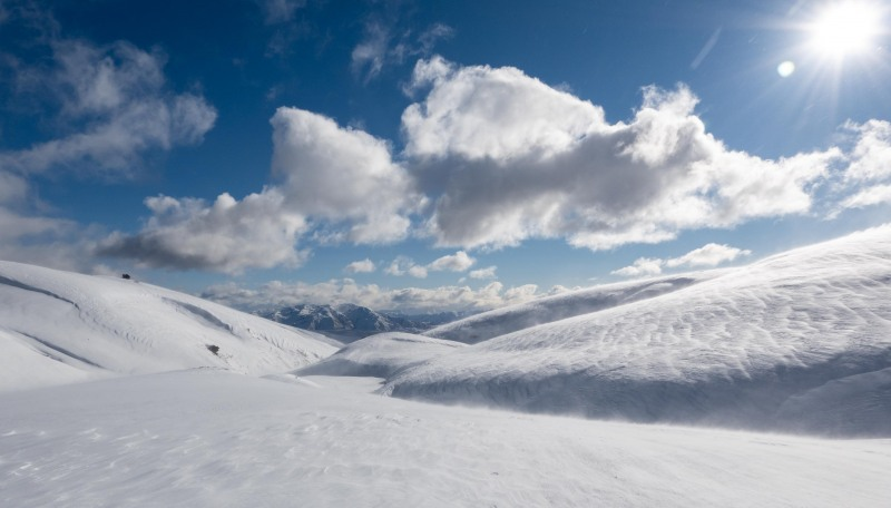 View back the way we came (Ski touring Kirtle Burn Hut August 2021)