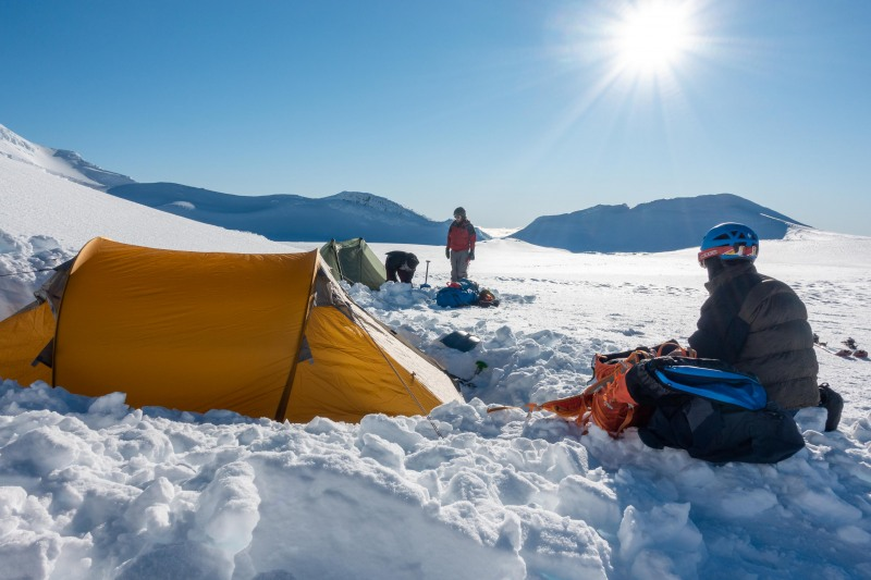 After pitching the tents (Tongariro Adventures July 2021)