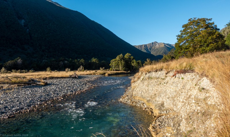 View up the river (Tramping Angelus Hut May 2021)