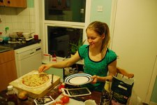 Suvi making pizza in her flat 3 (Norwich) resize