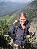 Frauke and rainbow (Salewa Klettersteig, Oberjoch, Germany) resize