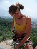 Frauke with climbing gear on wall (Lago di Garda, Italy) resize