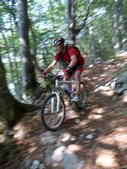 Chris descending through forest (Lago di Garda, Italy) resize