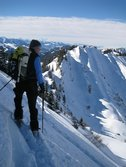 Frauke on slope (Ski touring Allgaeu) resize