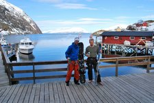 Ally and Cris on the deck (Lyngen Alps, Norway) resize