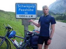 Cris points out the Schwägalp sign (Cycle Touring, Switzerland) resize