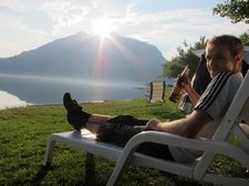 Jakob drinks beer by the lake (Lago di Lecco) resize