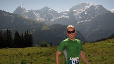 Cris with Eiger, Jungfrau behind (Inferno Half marathon, Switzerland) resize