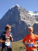 Julian and Cris at the finish in front of the Eiger (Jungfrau Marathon 2011) resize