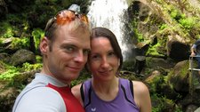 Cris and Leonie next to waterfall (Cycle touring Schwarzwald) resize