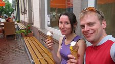 Leonie, and Cris with ice cream (Cycle touring Schwarzwald) resize