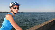 Leonie beside lake (Cycle touring Bodensee) resize