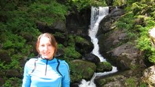 Leonie in front of lame waterfall (Cycle touring Schwarzwald) resize