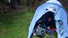 Leonie in tent (Cycle touring Schwarzwald) resize
