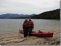 Landed on a beach (Seakayaking Manapouri)