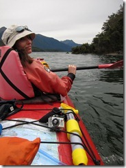 Leonie looks around (Seakayaking Manapouri)