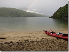 Rainbow across the water (Seakayaking Manapouri)
