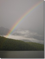 Rainbow on the water (Seakayaking Manapouri)