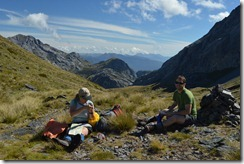 Having a break heading towards Mt Owen (Tramping Mt Owen)