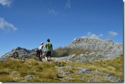 Having a break on the walk to Mt Owen (Tramping Mt Owen)