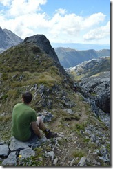 Simon waits for Gina (Tramping Mt Owen)