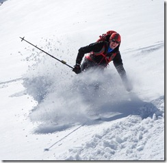 Christian shows his moves in the powder (Ski tour Gaißkogel)