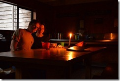 Cris and Leonie having a romantic candle lit hot chocolate in the hut(Welcome Flats Tramp)