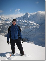 Cris and the Eiger 1 (Ski tour Schwalmere Feb 2013)