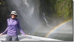 Leonie and two rainbows (Milford Sound)