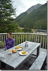 Leonie eating lunch at Kennedy's Lodge in Arthurs Pass (Arthurs Pass)