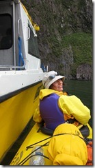 Leonie in our kayak (Milford Sound)