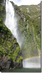 Rainbow below the waterfall 2 (Milford Sound)