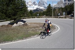Cris cruising up to passo Pordoi (Cycling Dolomites)