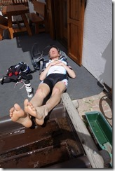 Marco enjoys some sun after riding (Cycling Dolomites)