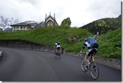 Thomas and Marco climbing Passo San Pellegrino (Cycling Dolomites)