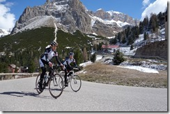 Thomas and Marco cruising up to passo Pordoi (Cycling Dolomites)