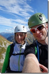 Leonie and Cris about to start the Klettersteig (Karhorn Klettersteig)