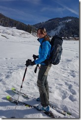 Leonie with her new gear (Ski touring Bleicherhorn und Höllritzereck Feb 2014)