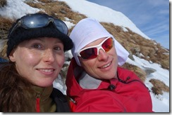 Us on our snowy ledge near the summit (Ski tour Hohe Matona Feb 2014)