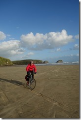 Riding along the beach (Cycle Touring Catlins)