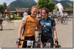 Cris and Leonie at the finish line (Tannheimer Tal Radmarathon 2014)