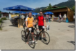 Cris and Markus at the finish line (Tannheimer Tal Radmarathon 2014)