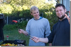 Cris and Tobyd with BBQ 4 (Golden Bay Dec 2014)