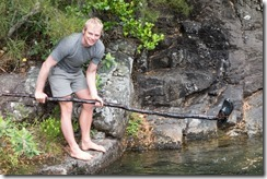 Cris goes fishing for his croc (Woolshed Creek Tramp)