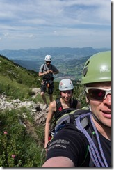 After putting on our harnesses (Salewa Klettersteig 2015)