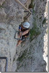 Leonie on another tricky bit (Salewa Klettersteig 2015)