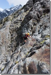 Clare climbing rock (Hopkins Valley Tramp Jan 2015)